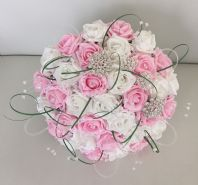 ARTIFICIAL BRIDE PINK WHITE FOAM ROSE BROOCH CRYSTAL WEDDING BOUQUET SPARKLY